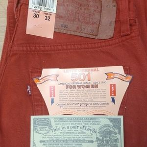 Vintage Red Buttonfly Levi's 501Women